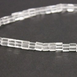 4mm Polished Glass Cube Beads -Clear
