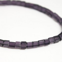 4mm Polished Glass Cube Beads - Purple