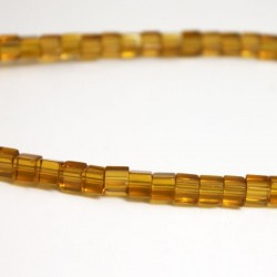 4mm Polished Glass Cube Beads - Amber
