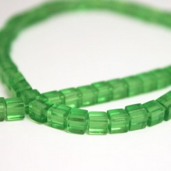4mm Polished Glass Cube Beads - Light Green