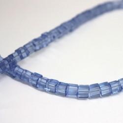 4mm Polished Glass Cube Beads - Light Blue