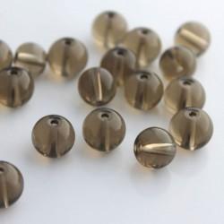 10mm Round Crystal Glass Beads - Smoky Topaz