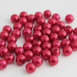 8mm Glass Pearl Beads - Red