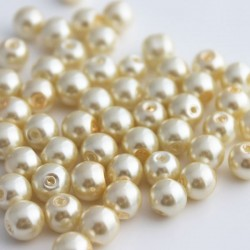 8mm Glass Pearl Beads - Cream