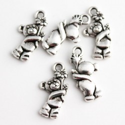 19mm Teddy Bear Charm - Antique Silver Tone