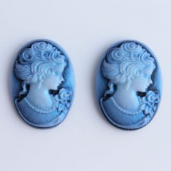 Pack of 2 Cabochon Cameos - Metallic Blue