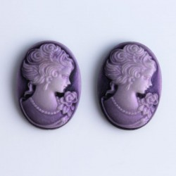 Pack of 2 Cabochon Cameos - Purple
