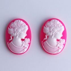 2 Cabochon Cameos - Bright Pink