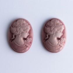 2 Cabochon Cameos - Pink