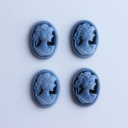 Pack of 4 Cabochon Cameos - Blue