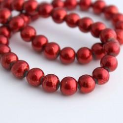 8mm Drawbench Glass Beads Red - 40cm Strand