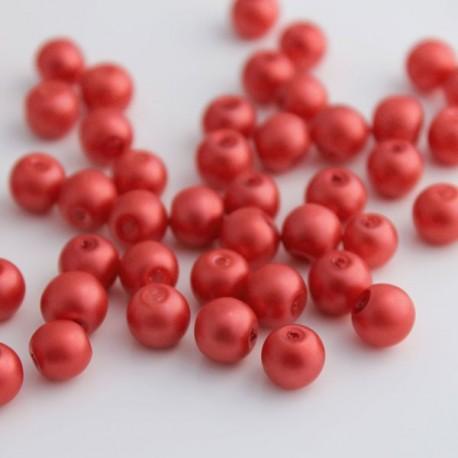 8mm Matt Glass Pearl Beads - Light Red