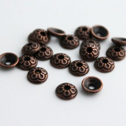 7mm Copper Tone Bead Caps - Round