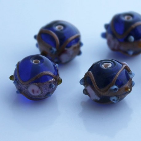 Lampwork 'Wedding Cake ' Bead - Cobalt Blue