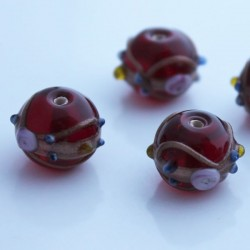 Lampwork 'Wedding Cake' Bead - Deep Red